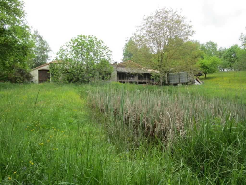 4 bedroom country cottage with gite (to be finished) plus several outbuildings (approximately 420m2), pond and spring (with pump) and nearly 5 acres of land.